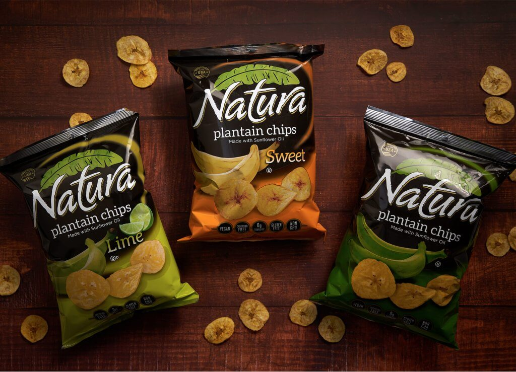 Natura chip bags on a table